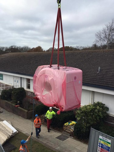 MRI scanner arriving at Spire Sussex Hospital