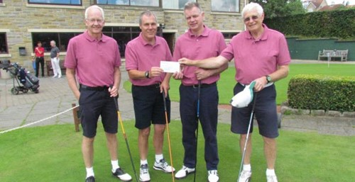 Cheque handover at last years golf tournament- from the left, Kevin Porter (former GP), Richard Maltby, Professor Giles Toogood, Simon Ambrose (retired bowel surgeon)