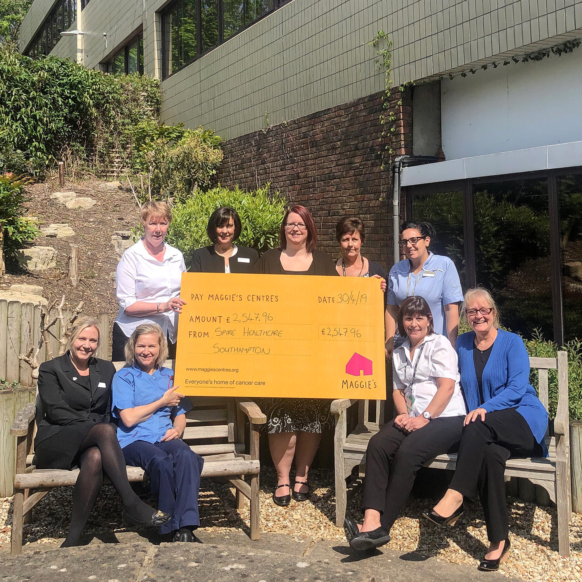 Spire Southampton raises over £2,500 for cancer charity