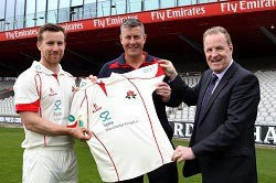Hospital Director, Chris Chadwick celebrates with team captain, Steven Croft, and Head Coach, Ashley Giles.