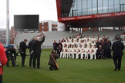 Behind the scenes of the team photograph.